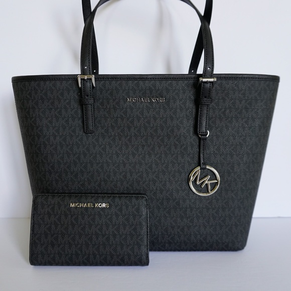 bb3da6426780 Michael Kors Bags | Jet Set Tote Wallet Set Mk Black | Poshmark